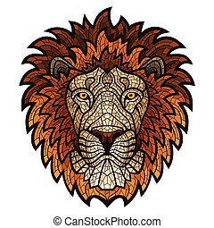 Ethnic patterned ornate head of Lion. - Ethnic patterned...