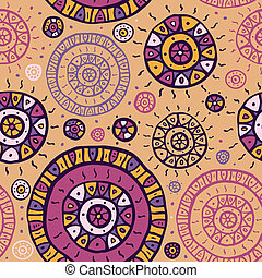 Ethnic seamless background. - Stylized hand drawn seamless...