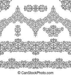 Ethnic seamless pattern borders, elements. Swirls, revival...