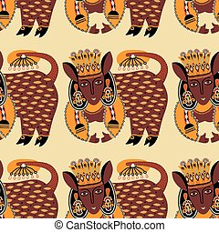 ethnic seamless pattern fabric with unusual tribal animal in...