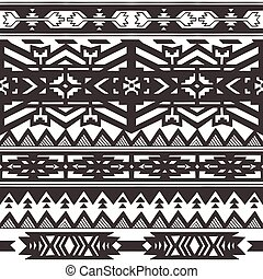 Ethnic seamless pattern in native style. Monochrom background