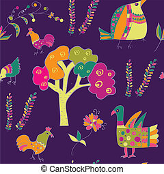 Ethnic seamless pattern with birds - traditional culture