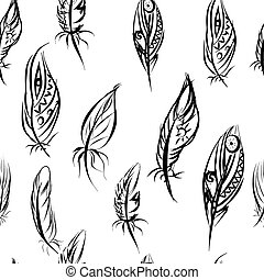 Ethnic seamless pattern with Feathers. Ethnic seamless pattern in native style.