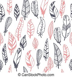 Ethnic seamless pattern with hand drawn feathers