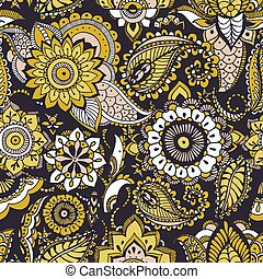 Ethnic seamless pattern with yellow buta motifs and Persian floral mehndi elements on black background. Colored decorative vector illustration for fabric print, wallpaper, wrapping paper, backdrop