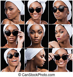 Ethnic style. Collage of beautiful young African woman in ethnic style expressing different emotions while standing against black background
