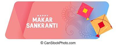 ethnic style makar sankranti festival banner design