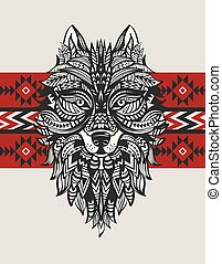 Ethnic totem of a wolf. Indian wolf.