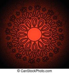 Ethnic Tribal Flower Circle Doodle Art