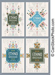 Ethnic, tribal, indian and mexican style brochure vector templates