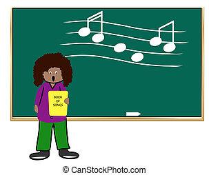 ethnic woman teaching music class -illustration