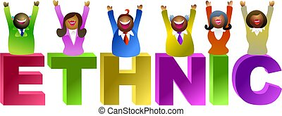 ethnic word - happy and ethnic group of people - icon people...