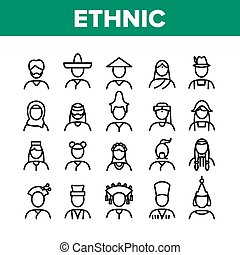 Ethnic World People Collection Icons Set Vector