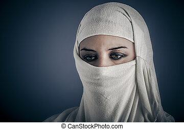 Ethnic, Young Arabic woman. Stylish portrait