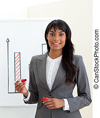 Ethnic young businesswoman reporting sales figures isolated ...