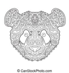 Ethnic Zentagle Ornate Hand Drawn Panda Head. Black and White Ink Doodle Vector Illustration. Sketch for Tattoo, Poster, Print or t-shirt. Relaxing Coloring Book for Adult and Children.