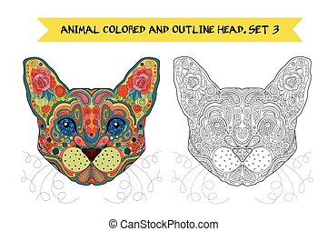 Ethnic Zentangle Ornate Hand Drawn Egypt Cat Head. Black and White and Painted Ink Doodle Animal Head Vector Illustration. Sketch for Tattoo, Poster, Print or t-shirt. Relaxing Coloring Book for Adult and Children.