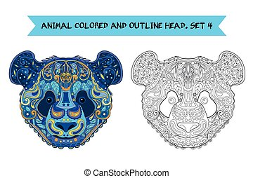 Ethnic Zentangle Ornate Hand Drawn Panda Bear Head. Black and White and Painted Ink Doodle Animal Head Vector Illustration. Sketch for Tattoo, Poster, Print or t-shirt. Relaxing Coloring Book for Adult and Children.