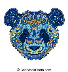 Ethnic Zentangle Ornate Hand Drawn Panda Bear Head. Painted Doodle Animal Head Vector Illustration. Sketch for Tattoo, Poster, Print or t-shirt. Relaxing Coloring Book for Adult and Children.