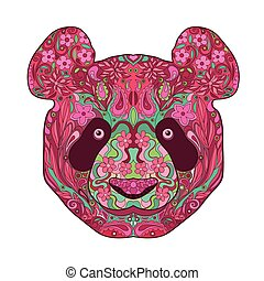 Ethnic Zentangle Ornate Hand Drawn Panda Head. Painted Doodle Animal Head Vector Illustration. Sketch for Tattoo, Poster, Print or t-shirt. Relaxing Coloring Book for Adult and Children.