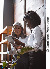 Ethnical mature asian and young african american business women, having a discussion together looking at digital tablet standing next to the wooden wall in the office