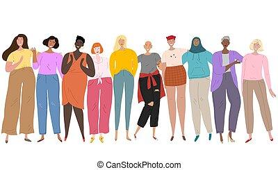 ethnicité, cultures, goup, amitié, ensemble., femmes, debout, différent, collectif, union, womens