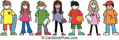 ethnique, adolescents, mélangé, ados
