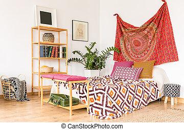 ethnique, confortable, chambre à coucher