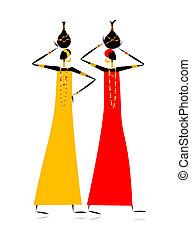 ethnique, cruches, femmes