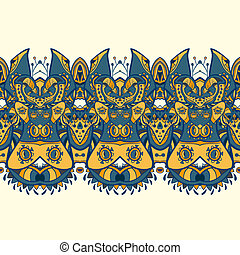 ethnique, horizontal, seamless, pattern., indien, ornement