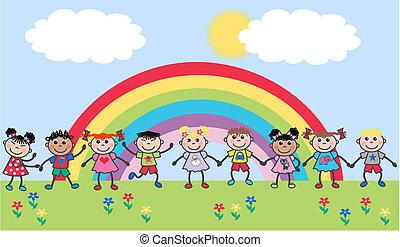 ethnique, mélangé, enfants