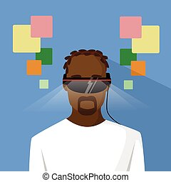 ethnique, réalité, américain, homme, virtuel, africaine
