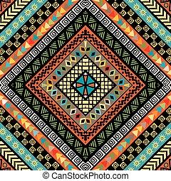 ethnique, rhomboïde, coloré, fond, motifs