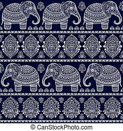 ethnique, seamless, éléphant