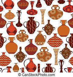 ethnique, seamless, texture, vases