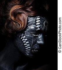 ethnique, style, -, face femelle, dans, tribal, peint, lignes