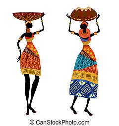 ethnisch, frau, mit, blumenvase