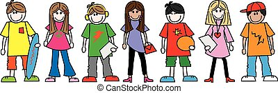 ethnisch, jungendliche, gemischter, teenager