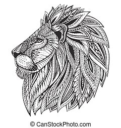 ethnisch, nachgebildet, aufwendig, hand, gezeichnet, kopf, lion.