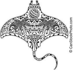 ethnisch, strahl, elemente, t�towierung, manta