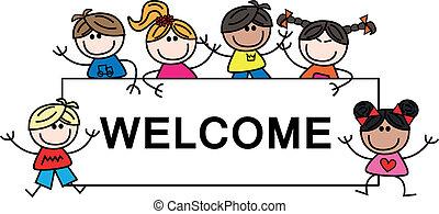 ethnische , gemengd, kinderen, welkom