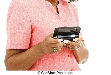 ethnische , handen, texting