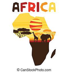 ethnische , map., achtergrond, illustratie, afrikaan