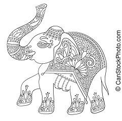 ethnischer inder, elefant, linie, original, zeichnung,...