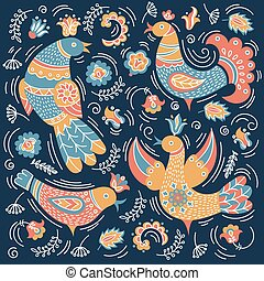 ETHNO BIRD Folk Doodle Ornament Vector Illustration Set