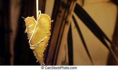 Ethno heart decoration - Handmade. turns around, hanging...