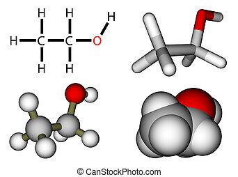 Ethyl alcohol structural formula and molecular models