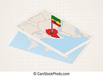 etiópia, térkép, kiválasztott, 3, lobogó, ethiopia.