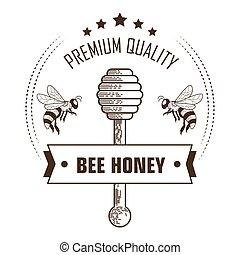 etichetta, ape, legno, imballaggio, premio, miele, qualità, mestolo