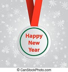 etichetta, auguri, sagoma, anno, nuovo, rotondo, rosso
